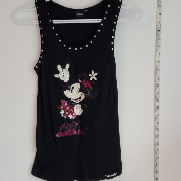 EUC Black Minnie Mouse Sequin Disney Tank Top
